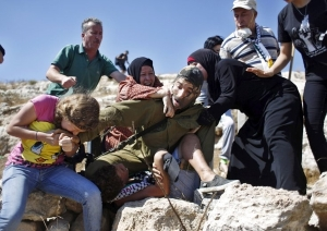 Israeli soldier showing restraint